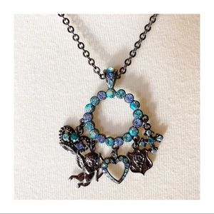 Cookie Lee Blue Rhinestone Charm Necklace